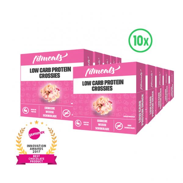 Low Carb Schoko Crossies - Weiße Schokolade Erdbeere (10 Pack)