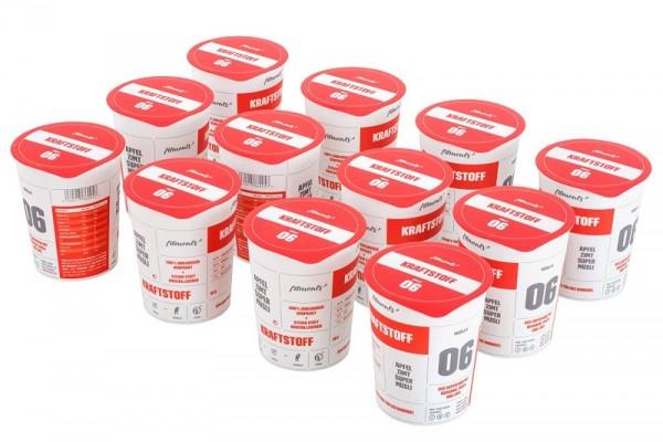 KRAFTSTOFF (12 Pack) - Low Fat Protein Guarana Apfel Zimt Müsli