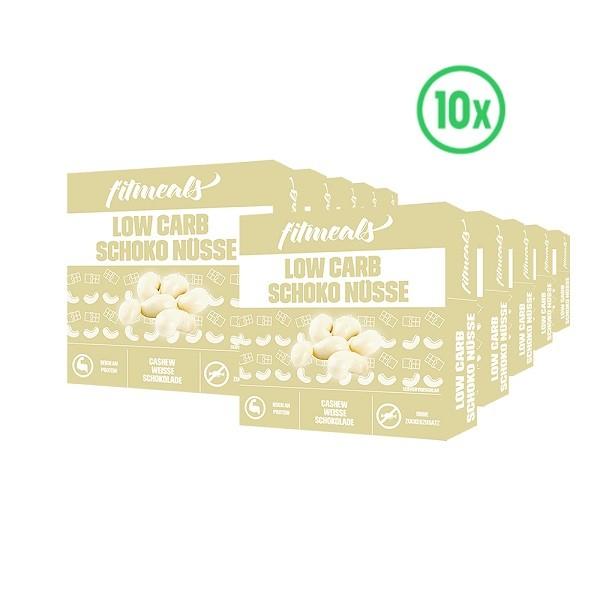 Low Carb Schoko Nüsse - Cashew Weiße Schokolade 10er Pack