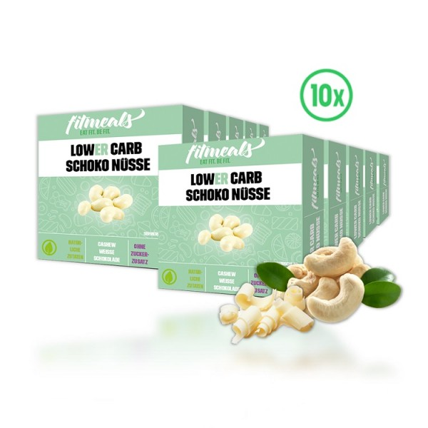 Lower Carb Schoko Nüsse - Cashew Weiße Schokolade 10er Pack